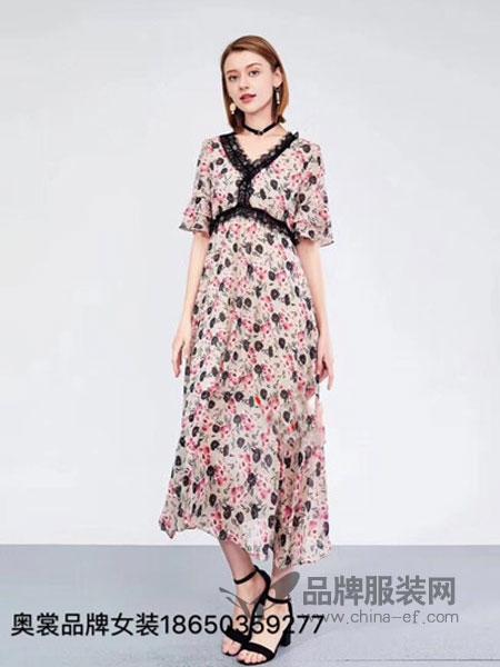 奥裳女装2018春夏蕾丝拼接印花碎花雪纺女长裙新款甜美显瘦连衣裙