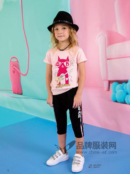 黑白熊童装2018春夏女童图画粉色上衣