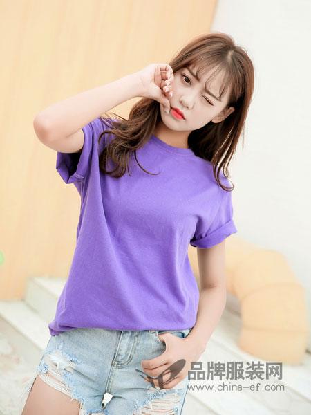 3℃ THREE DEG .C女装2018春夏新款紫色T恤