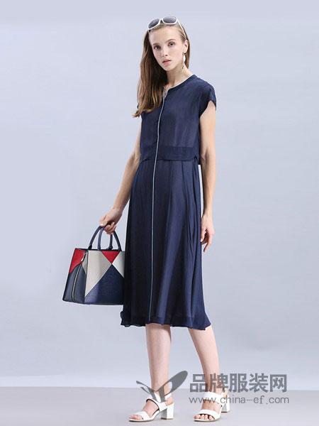 米珂拉女装2018春夏新款气质修身A摆撞色中长款藏蓝色连衣裙