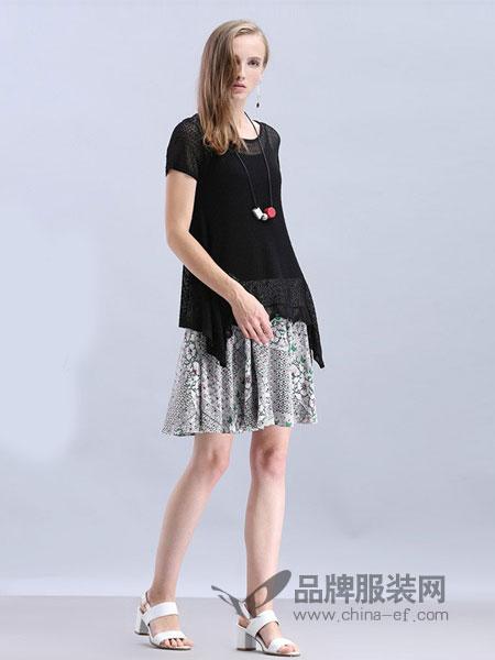 米珂拉女装2018春夏优雅复古印花不规则黑色两件套针织连衣裙