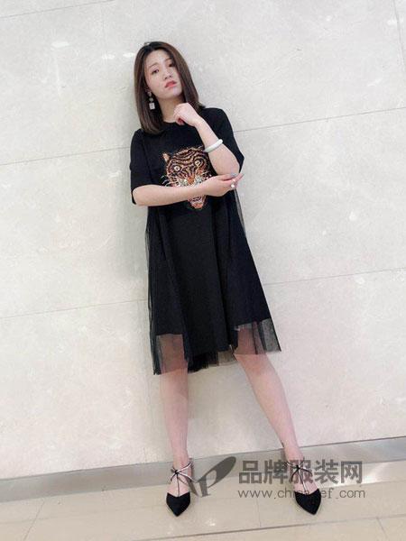 明迈服饰女装2018春夏新款五分袖长裙绣花拼接时尚简约
