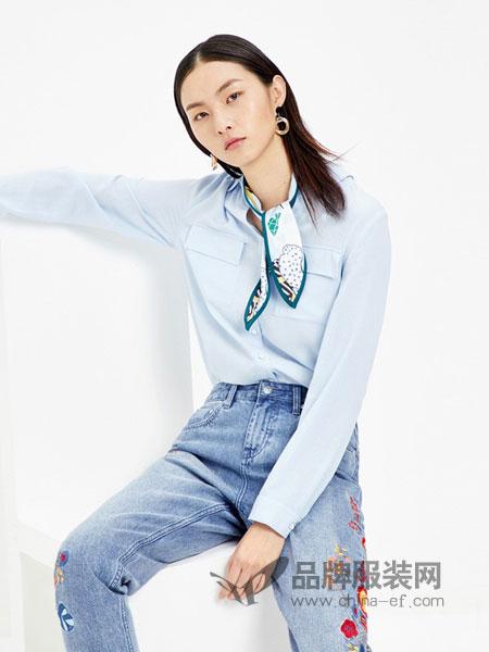 千姿惠Qanzhui女装2018春夏休闲浅蓝长袖衬衫