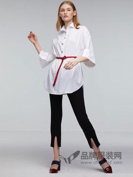 丹时尼女装2018春夏撞色条学院风中长款五分袖衬衫