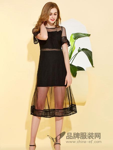 卡尔诺女装2018春夏新款韩版时尚修身吊带衫网纱蕾丝中短裙连衣裙女潮
