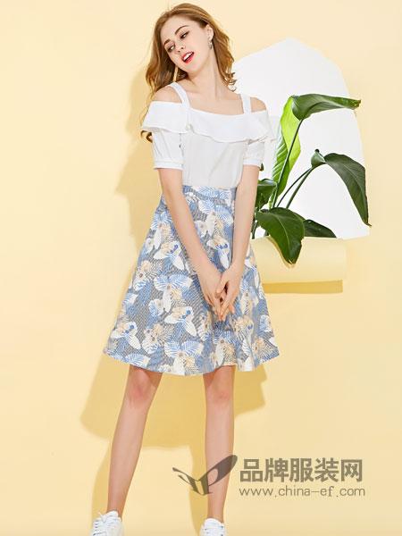 卡尔诺女装2018春夏新款短袖T恤上衣A字裙蓝花裙子时尚两件套女