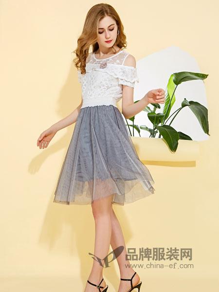 卡尔诺女装2018春夏小清新甜美超仙连衣裙小个子高腰仙气裙子
