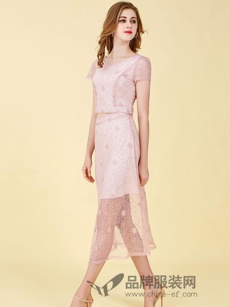 卡尔诺女装2018春夏新款韩版修身蕾丝连衣裙百搭显瘦气质短袖两件套长裙