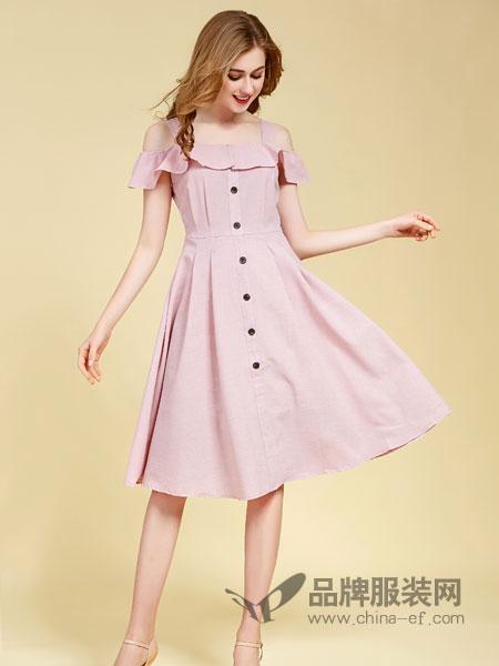 卡尔诺女装2018春夏新款纯色露肩荷叶边吊带收腰显瘦气质淑女裙排扣A字连衣裙