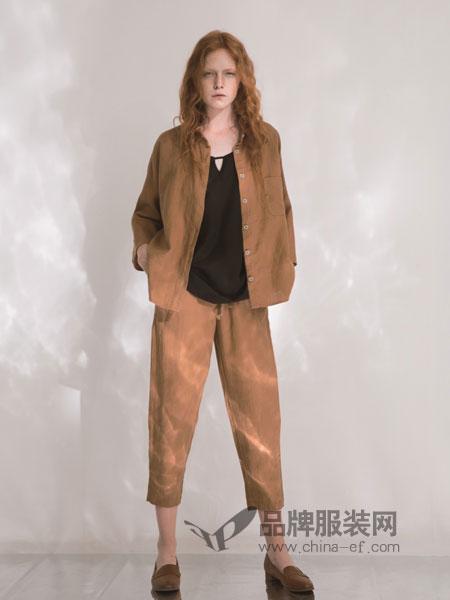奕色女装2018春夏新款休闲宽松棉麻外套直筒九分裤两件套