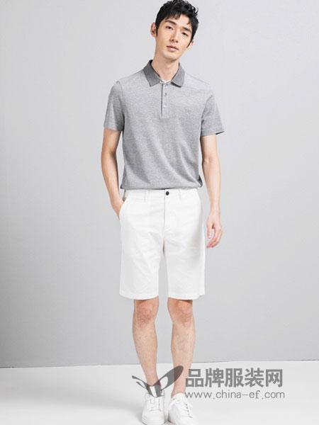 鄂尔多斯高级男装/鄂尔多斯时尚男装男装2018夏季半袖纯棉男v领白色男装打底衫潮