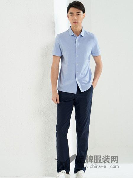 鄂尔多斯高级男装/鄂尔多斯时尚男装男装2018夏季 男士商务翻领针织T恤 纯棉短袖