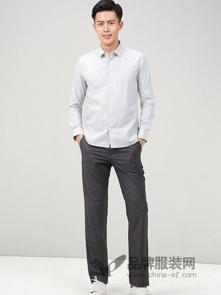鄂尔多斯高级男装/鄂尔多斯时尚男装男装2018夏季新品男士纯棉商务休闲长袖衬衫