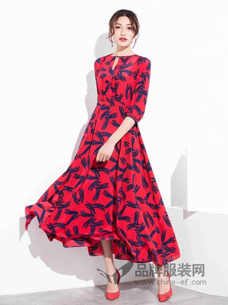 风行凯琦女装2018春夏新款雪纺连衣裙女春款气质仙气超仙红色长裙时尚女士裙子夏天
