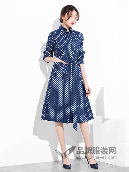 风行凯琦女装2018春夏V领波点褶皱高腰气质显瘦七分袖A字中裙藏蓝色