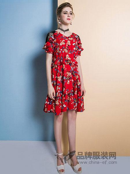 五丁目·衣舍女装2018春夏新款韩版V领拼接蕾丝复古荷叶边裙