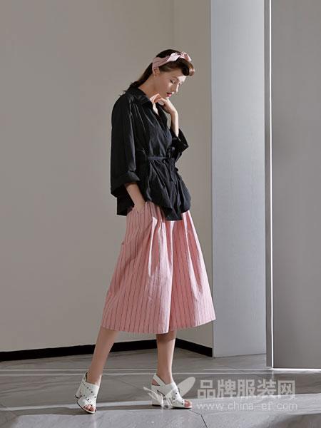 佛尼亚女装2018春夏外套简约系腰带 长袖开衫短款外套