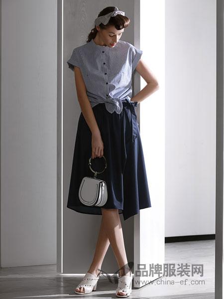 佛尼亚女装2018春夏条纹长袖韩版单排扣宽松打底衬衫女潮