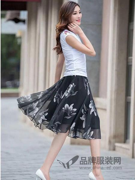 贝登女装显瘦大摆裙大码过膝中裙仙女裙
