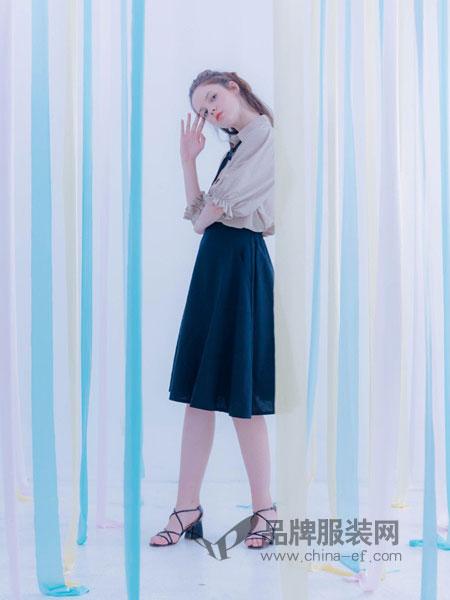 克德伊女装2018春夏蝴蝶结领带长袖衬衫套头女衬衣