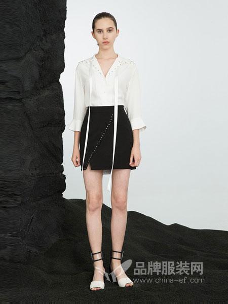 荷高女装2018春夏新品雪纺V领喇叭袖衬衣+高腰铆钉侧开叉长裙两件套