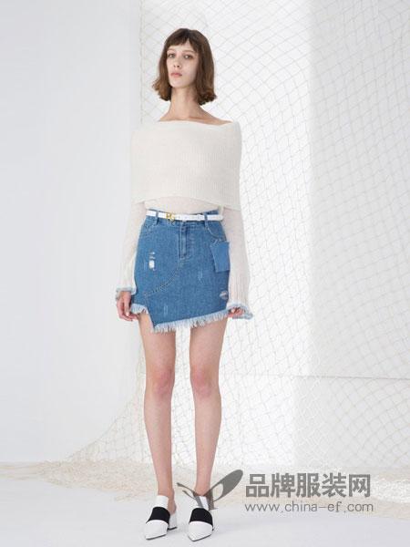 荷高女装2018春夏中长款宽松显瘦高腰A字裙