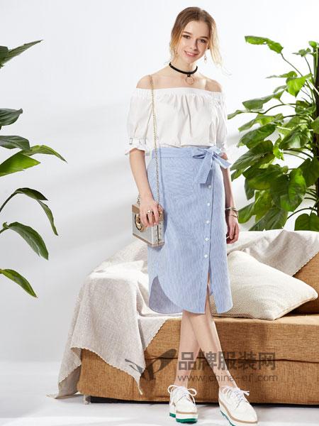 城市衣柜女装2018春夏韩版修身高腰显瘦百搭条纹半身裙