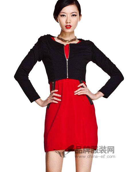 艾卓iaizo女装2018春夏红色修身连衣裙