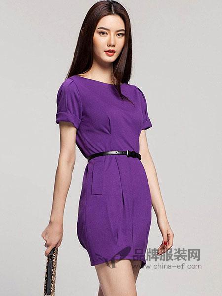 艾卓iaizo女装2018春夏紫色修身连衣裙
