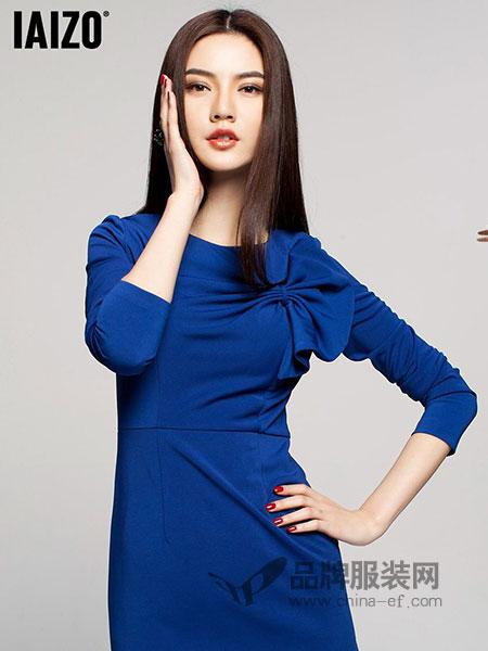 艾卓iaizo女装2018春夏藏青蝴蝶结连衣裙