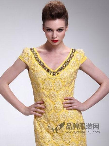 UM&JACE女装黄色蕾丝连衣裙