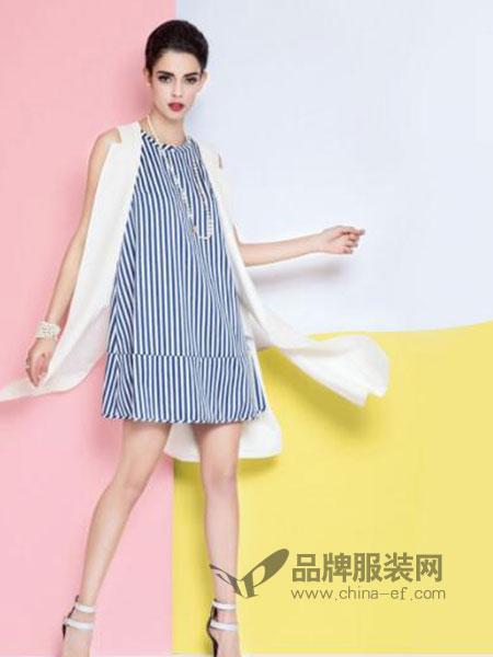 曼德诗品牌女装女装休闲条纹圆领无袖宽松气质连衣裙