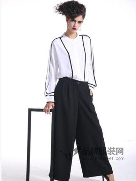 曼德诗品牌女装女装时尚高腰显瘦阔腿裤女裤休闲裤