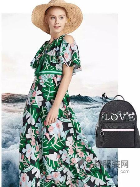 XIIBASKET十二篮女装棕榈叶海岛度假飘逸露肩连衣裙