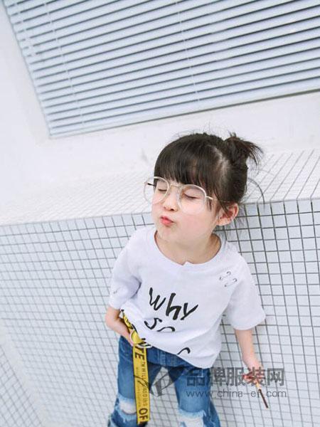 加菲A梦童装2018春夏新款韩版潮衣宝宝中小儿童装T短袖牛仔短裤两件套装
