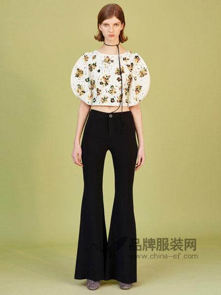I LOVE PRETTY女装2018春夏 网纱刺绣高腰直筒型套头蕾丝衫