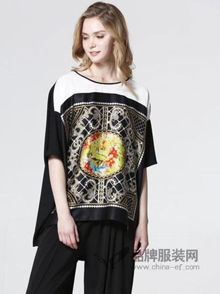 showlong、舒朗、美之藤、高歌女装2018春夏新款 时尚休闲宽松套头衫五分袖小衫