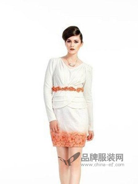 凸彩女装白色蕾丝花边连衣裙