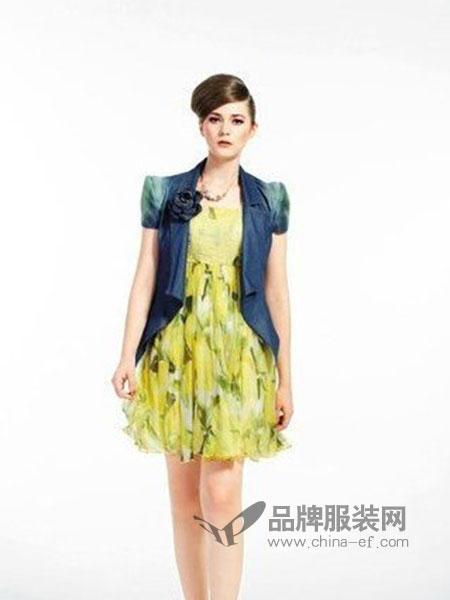 凸彩女装黄色碎花短款连衣裙
