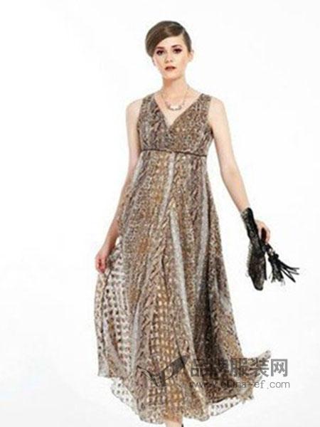 凸彩女装豹纹无袖连衣裙