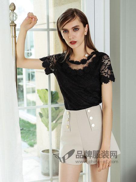 浩洋国际女装2018春夏甜美气质蕾丝上衣