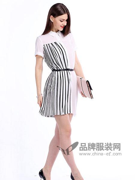 戴莉格琳女装显瘦条纹中长款连衣裙