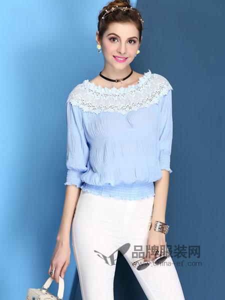 戴莉格琳女装蕾丝洋气甜美全棉收腰上衣衬衫