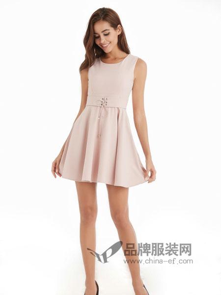 颜上女装2018春夏新款韩版修身显瘦A字裙高腰无袖背带短裙