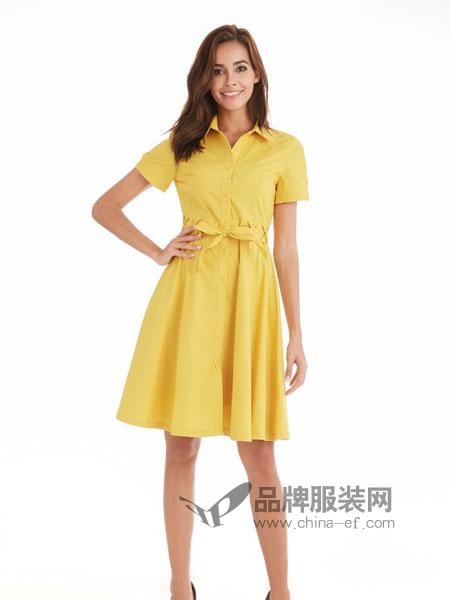 颜上女装2018春夏中长款气质收腰显瘦衬衣裙短袖