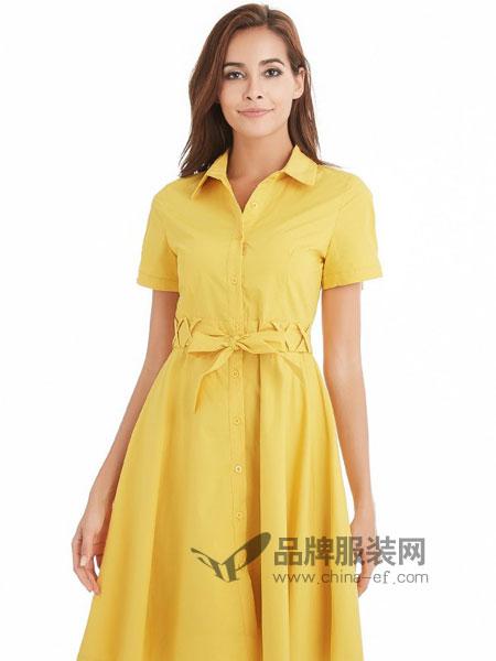 颜上女装2018春夏新款优雅梭织衬衫式收腰连衣裙