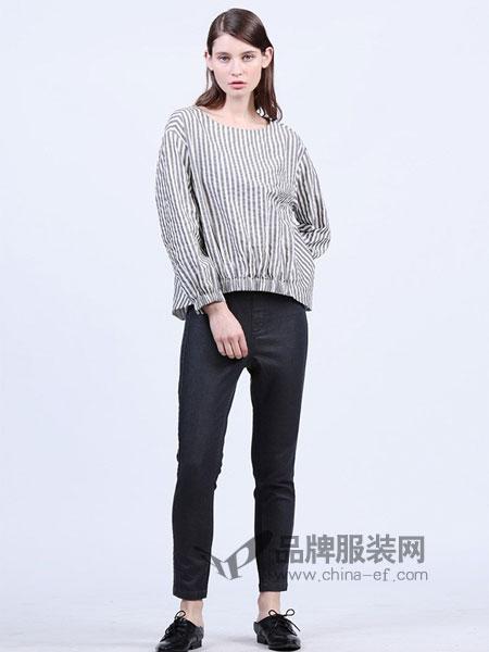 三淼女装2018春夏竖条纹 短袖 收腰 上衣