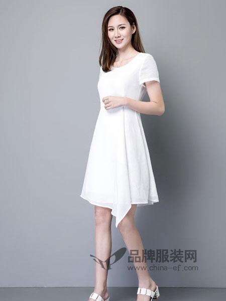 名妹女装2018春夏纯色中腰套头圆领短袖不规则裙中长款