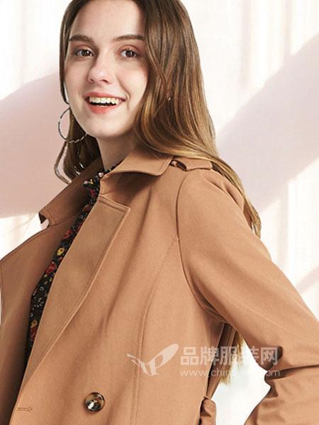 埃迪拉女装2018春夏焦糖色风衣女中长款收腰宽松外套大衣
