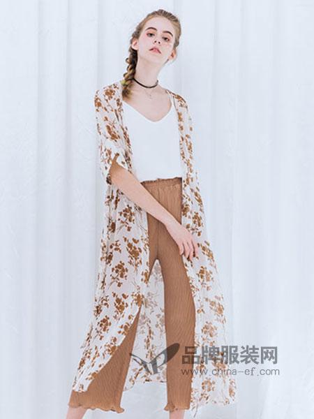 红馆女装杏色印花长款开叉外套